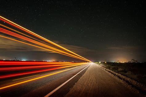 night road shutter speed light wallpaper