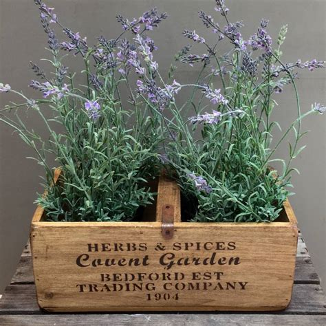 wooden plants artificial lavender plants in wooden planter by funky bunch notonthehighstreet com