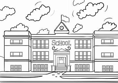 Building Coloring Clipart Library Escuela Cartoon Dibujo