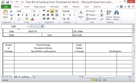 bill  lading form template  excel