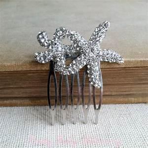 Starfish Hair Accessories Rhinestone Silver Beach Wedding