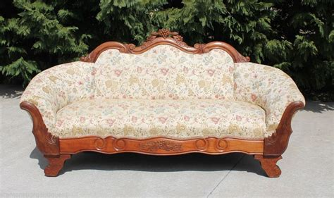 New Settees by Transitional American Empire Walnut Sofa