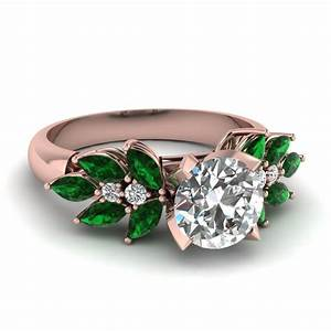 round cut nature inspired marquise diamond ring with With emerald green wedding rings