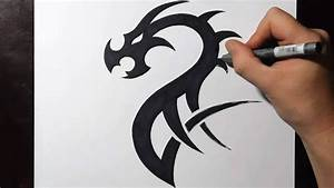 How to Draw a Simple Tribal Dragon Tattoo Design - YouTube