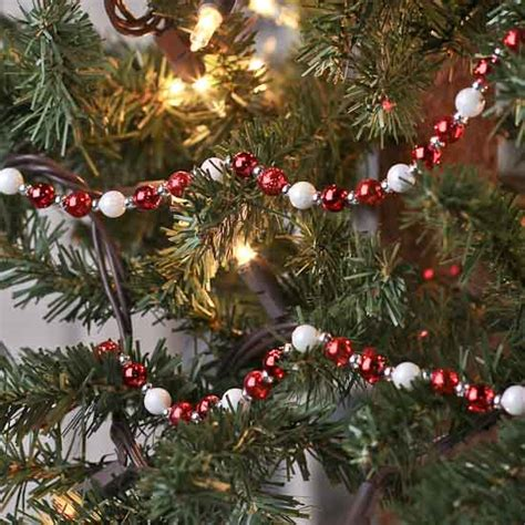 red  white iridescent holiday bead garland christmas