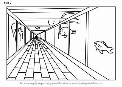 Draw Perspective Point Drawing Aquarium Step Drawings