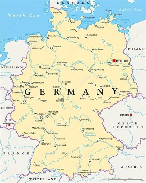 Germany Political Map — Stock Vector © Furian 54805633