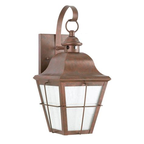 copper exterior light fixtures sea gull lighting chatham 1 light outdoor weathered copper