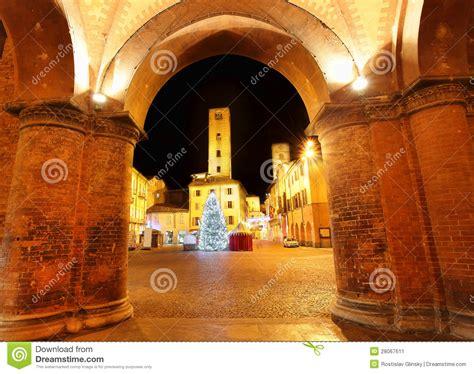 christmas tree on city square alba italy stock image image 28067611