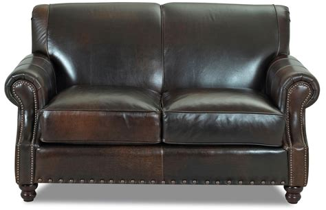 traditional leather loveseat traditional leather loveseat with nail trim by