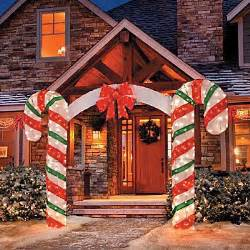 large candy cane bow arch clear lights stake christmas yard outdoor decoration candy cane rope