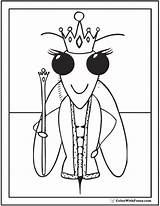 Bee Coloring Queen Pages Crown Honey Cute Colorwithfuzzy sketch template