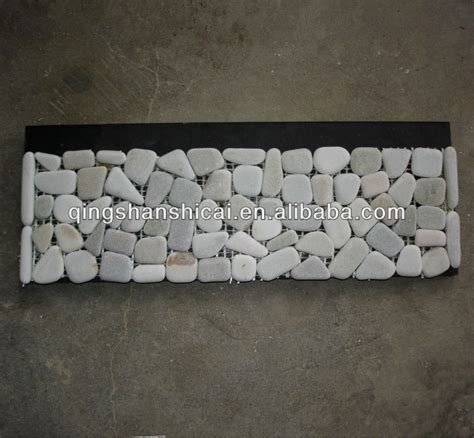 sliced pebble tile border cut pebble mosaics border tiles pattern pebble wall edging
