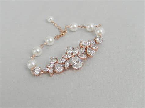 rose gold bridal bracelet crystal wedding bracelet pearl
