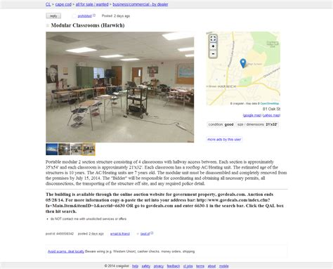 Cape Cod Craigslist Ad Of The Day  Harwich Classrooms For