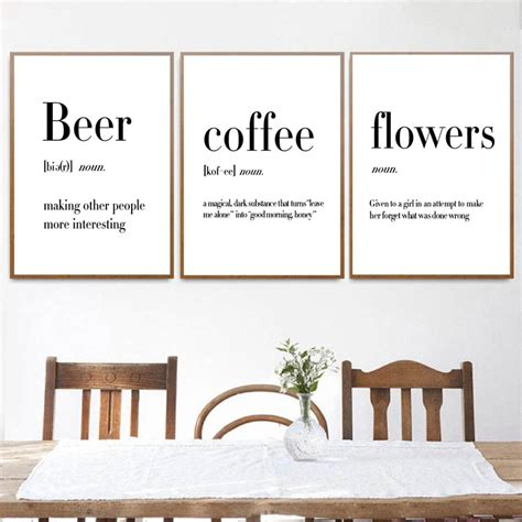 [misquote of a letter about wine, see i like my coffee black, my beer from germany, wine from burgundy, the darker, the better. Minimalist Art Definition Beer Coffee Wine Quotes Posters Print Nordic Kitchen Room Wall Art ...