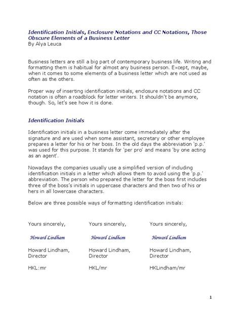 sample business letter  cc  bottom letter format