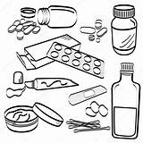 Medicine Tablet Drawing Pill Medical Doodle Coloring Pills Geneeskunde Pil Medische Stockillustratie Tablets Aid Tools Sketch Cream Getdrawings Kit Template sketch template