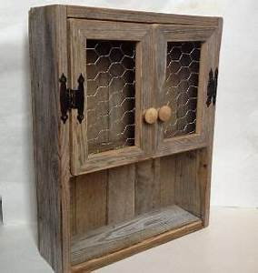rustic cabinet reclaimed wood shelf chicken wire decor With kitchen cabinets lowes with wall art using pallets