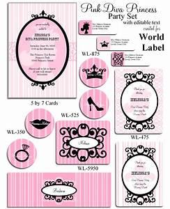 Pink diva princess party printable set world label blog bloglovin for World label blog