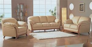 Beige leather elegant living room set with wooden accents for Beige leather living room set