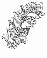 Feather Funky Coloring Coloringpages Adults Printable Therapy sketch template