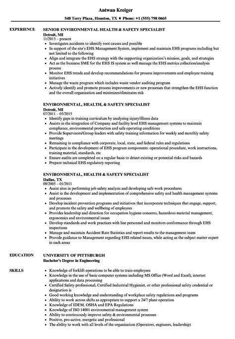Environmental Specialist Resume by Environmental Health Safety Specialist Resume Sles