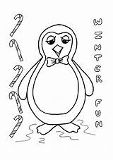 Penguin Coloring Toby Christmas sketch template