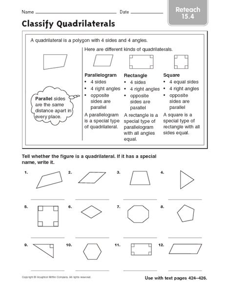 classify quadrilaterals reteach 15 4 worksheet for 3rd 4th grade lesson planet