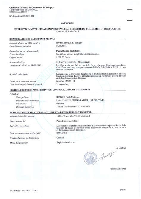 chambre de commerce extrait kbis documents administratifs architecte paula bianco