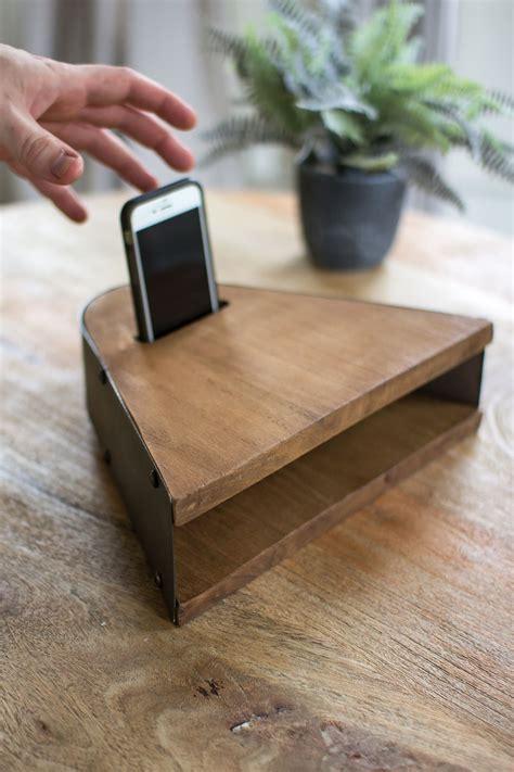 industrial modern metal wood acoustic cell phone speaker