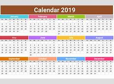 Download Free Blank Calendar 2019 Annual Template