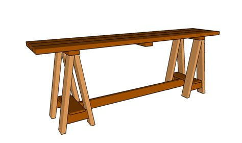 sawhorse console table plans howtospecialist