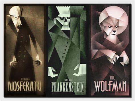 classic monsters poster illustrations  szoki