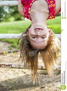 Smiling, Girl, Hanging, Upside, Down, Stock, Image