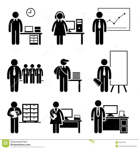 office pictograms jobs corporate careers occupations professions figure center vector industry showing royalty