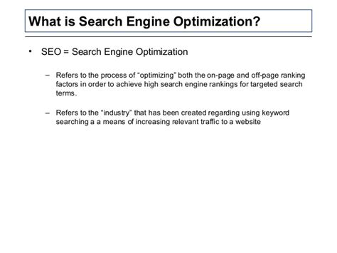 search engine ranking optimization search engine marketing optimization seo overview ppt