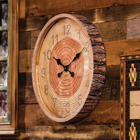 wood bark wall clock