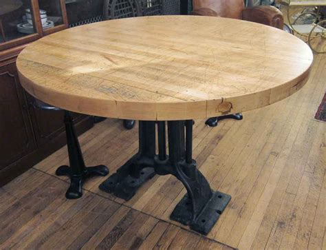 refurbished  butcher block table  heavy cast iron