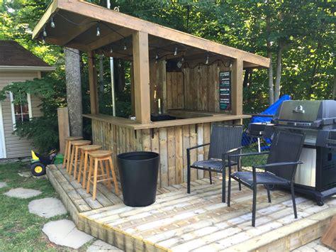 tiki bar backyard pool bar built with patio wood
