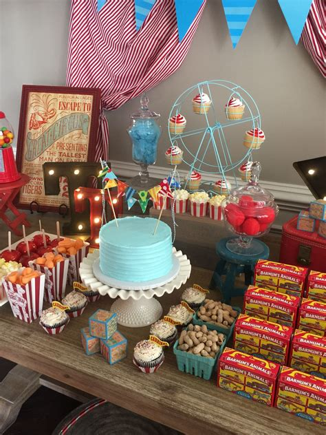 vintage circus theme baby shower created   blue