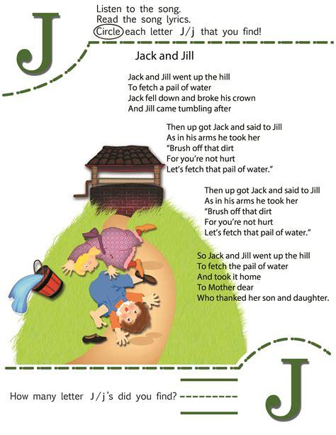 circle the letter j worksheet and nursery rhyme kiboomu