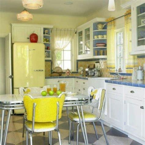 Yellow Fridge With Retro Appliances For Amazing Kitchen