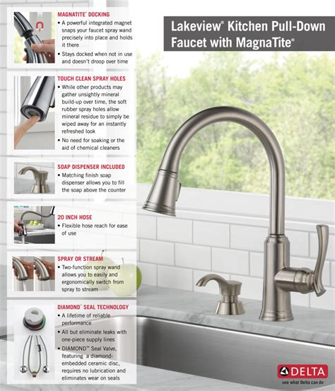 Delta Lakeview Faucet 19963 by Delta Lakeview Single Handle Pull Sprayer Kitchen