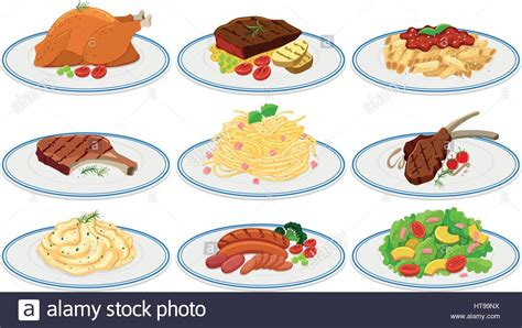 different types of cuisine different types of food on the plates illustration stock