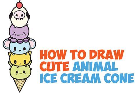 draw cute kawaii animals stacked  ice cream cone