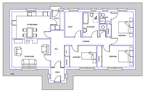 Example House Plan Blueprint Examples Windows Royalty Free