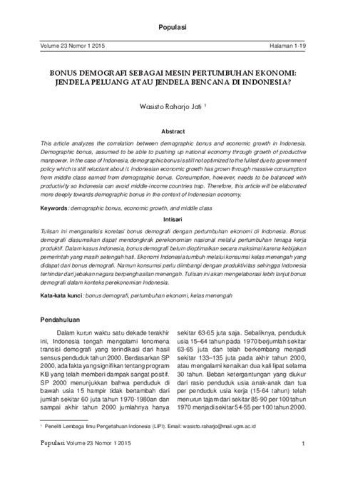(PDF) BONUS DEMOGRAFI SEBAGAI MESIN PERTUMBUHAN EKONOMI