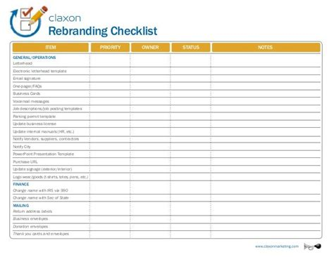 rebranding checklist item business cards voicemail