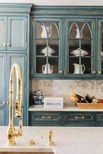 Blue Kitchen Cabinets Gold Hardware Design Ideas